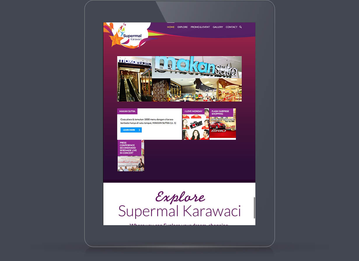 Homepage viewed in Tablets